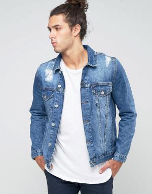 ASOS Синяя рваная джинсовая куртка. Цвет: синий
