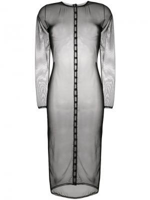 Прозрачное платье-миди Murmur. Цвет: чёрный