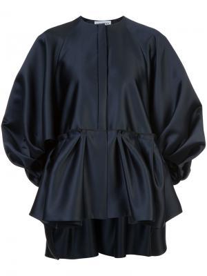 Атласная блузка с присборенной отделкой Dice Kayek. Цвет: чёрный