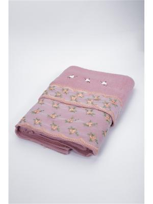 Комплект полотенец Кружево с цветочками La Pastel. Цвет: розовый
