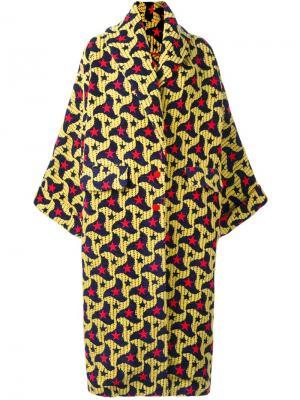 Пальто свободного кроя с абстрактным узором Ultràchic. Цвет: жёлтый и оранжевый