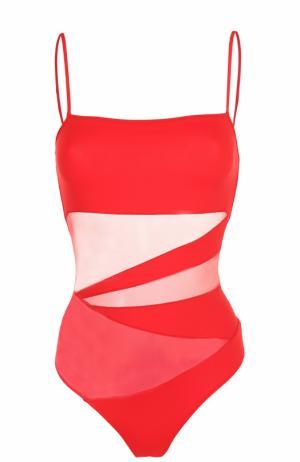 Слитный купальник с полупрозрачными вставками NATAYAKIM. Цвет: красный