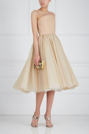 Шелковое платье-бюстье Ester Abner. Цвет: бежевый