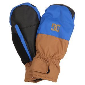 Варежки сноубордические DC Seger Mitt Nautical Blue Shoes. Цвет: синий,коричневый