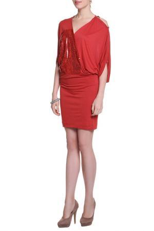 Платье Nude. Цвет: красный