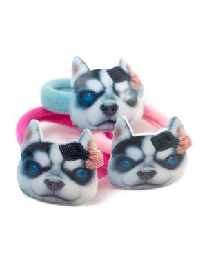 Резинка с собакой розовая, голубая, темно-розовая 3 шт. детская JD.ZARZIS. Цвет: розовый, голубой