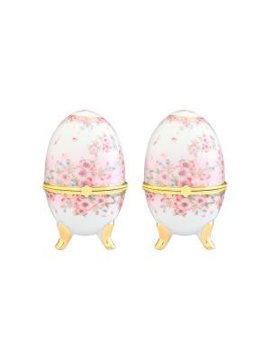 Шкатулка Сакура, 2 шт Elan Gallery. Цвет: белый, золотистый, розовый