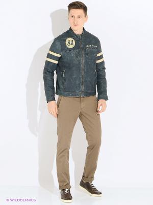 Куртка кожаная Trapper. Цвет: синий