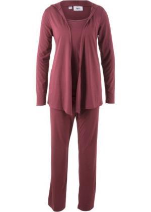 Мода для беременных: спортивные костюм из куртки, брюк и топа (3 изд.) (кленово-красный) bonprix. Цвет: кленово-красный