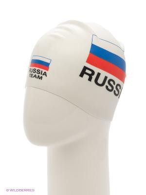 Силиконовая шапочка Print Russian Team Mad Wave. Цвет: белый, красный
