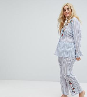 River Island Plus Пижамные штаны в полоску с цветочной вышивкой. Цвет: мульти