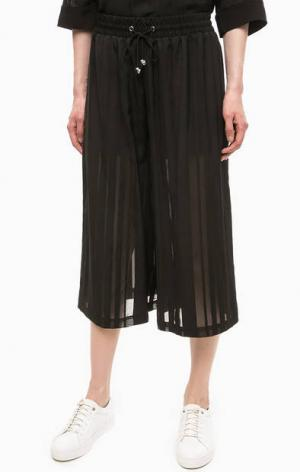 Черные брюки кюлоты на резинке Religion. Цвет: черный