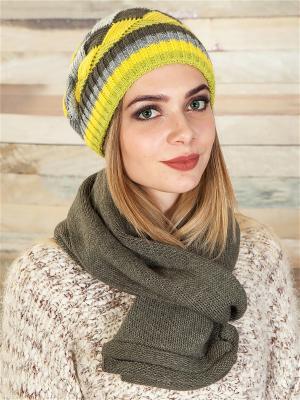 Комплект (шапка, шарф) LORICCI. Цвет: оливковый