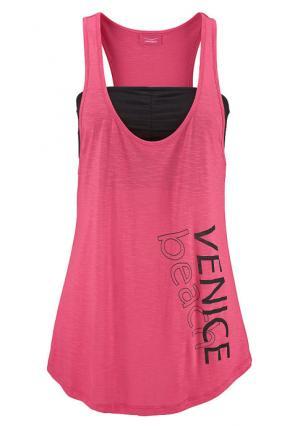 Комплект: топ + бюстье VENICE BEACH. Цвет: темно-серый+ярко-розовый