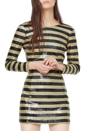 Праздничное платье с пайетками MANGO. Цвет: золотой