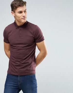 ASOS Бордовая футболка‑поло. Цвет: красный