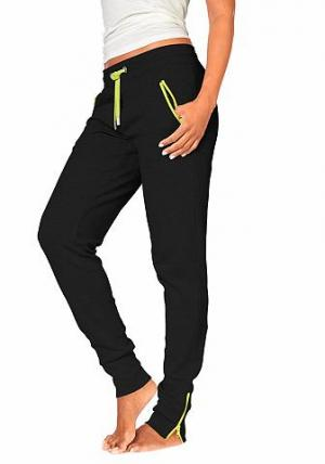 Спортивные брюки H.I.S. Цвет: черный/неоново-желтый
