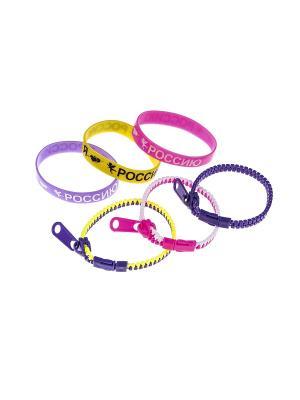 Комплект (Браслет - 6 шт.) Happy Charms Family. Цвет: желтый, фиолетовый, розовый