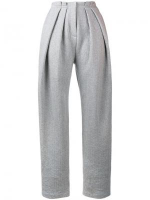 Свободные брюки в рубчик Vika Gazinskaya. Цвет: серый