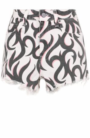 Джинсовые мини-шорты с потертостями и принтом Denim X Alexander Wang. Цвет: разноцветный