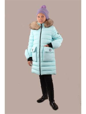 Пальто Fobs. Цвет: бирюзовый