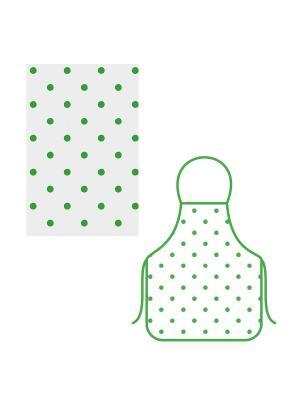 Набор фартук+полотенце Горошек МультиДом. Цвет: зеленый