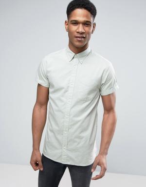 Jack & Jones Узкая рубашка с короткими рукавами Premium. Цвет: зеленый