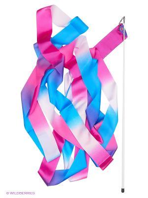 Лента гимнастическая Larsen. Цвет: голубой, розовый, белый