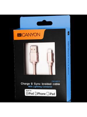 Плетеный кабель MFI(сертифицированный компанией Apple) Canyon CNS-MFIC3RG. Цвет: бледно-розовый