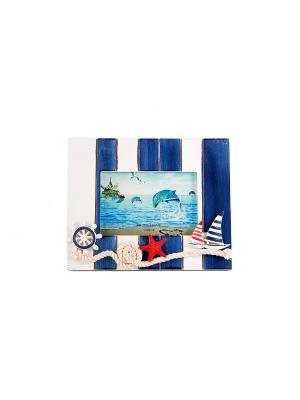Фоторамка Морская романтика Русские подарки. Цвет: синий, белый