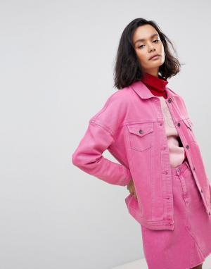 Vero Moda Цветная джинсовая оверсайз-куртка. Цвет: розовый