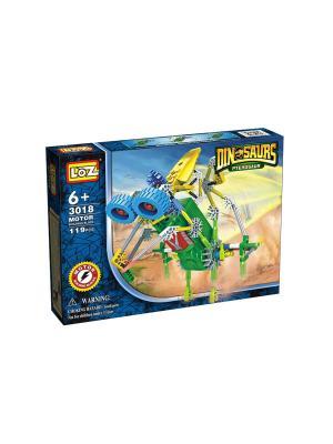 Электромеханический конструктор IROBOT. Серия: Динозавр. Комарозавр Loz. Цвет: синий