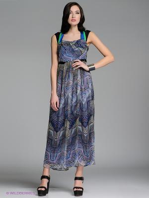 Платье LUIGI FERRO. Цвет: синий, зеленый, белый, черный