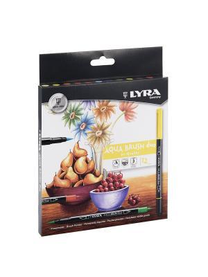 Lyra  aqua brush duo - двойной фломастер с эффектом рисунка кистью.12цв. Цвет: белый, желтый, черный
