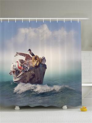 Фотоштора для ванной Корабль в бирюзовом озере, лодка на фоне Солнца, Ноев ковчег , 180*200 см Magic Lady. Цвет: белый, синий, зеленый, морская волна, серый, голубой, молочный