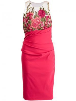 Платье с цветочной вышивкой Marchesa Notte. Цвет: розовый и фиолетовый