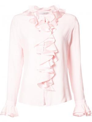 Рубашка Charmeuse Longsleeved Ruffled Tome. Цвет: розовый и фиолетовый