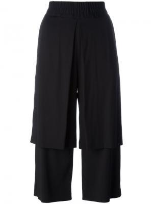 Двухслойные укороченные брюки Aalto. Цвет: чёрный