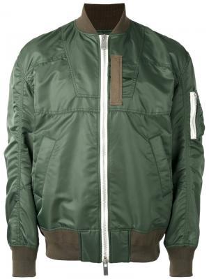 Куртка-бомбер с панельным дизайном Sacai. Цвет: зелёный
