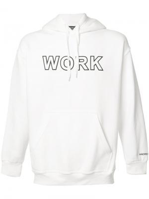 Work print hoodie Andrea Crews. Цвет: белый