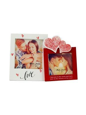 Фоторамка Влюблённые Русские подарки. Цвет: красный, белый