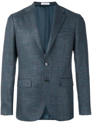 Check pattern blazer Boglioli. Цвет: серый