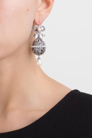 Серебряные серьги с жемчугом и аметистами «Пасхальные Яйца» Axenoff Jewellery. Цвет: серебряный, сиреневый
