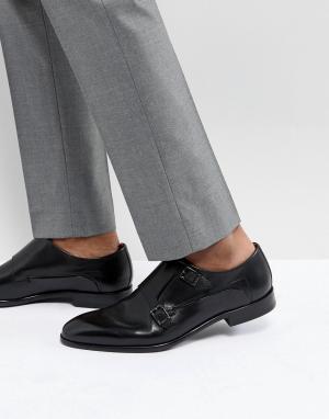 HUGO Черные кожаные монки. Цвет: черный