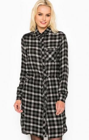 Платье-рубашка из вискозы в клетку Liu Jo Jeans. Цвет: серый