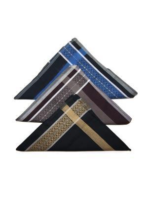 Носовой платок, 3 шт Lola. Цвет: черный, коричневый, синий