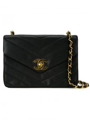 Сумка с простроченным узором-елочкой Chanel Vintage. Цвет: чёрный