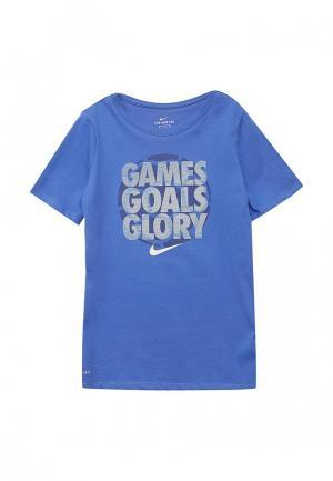 Футболка Nike. Цвет: синий