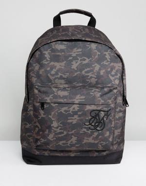 SikSilk Рюкзак с камуфляжным принтом. Цвет: зеленый