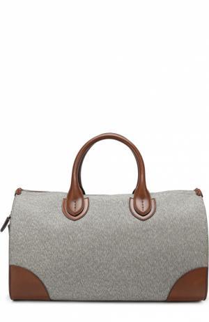 Дорожная сумка с отделкой из натуральной кожи Bertoni. Цвет: темно-коричневый